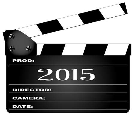 home video camera: A typical movie clapperboard with the legend 2015 isolated on white.