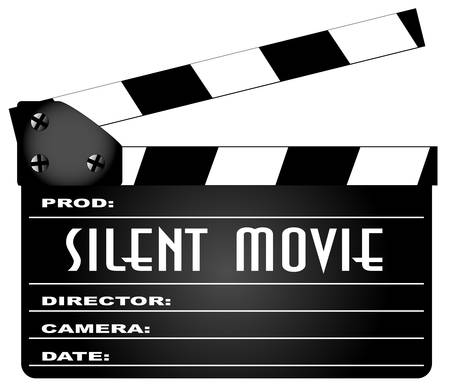 A typical movie clapperboard with the legend SILENT MOVIE isolated on white.