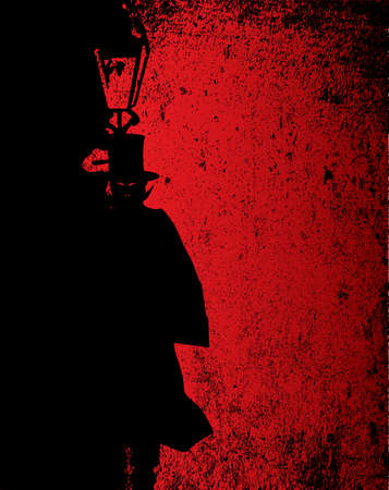 gas lamp: Dark vampire by the light of a gas street lamp Illustration