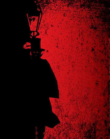 Dark vampire by the light of a gas street lamp Illustration