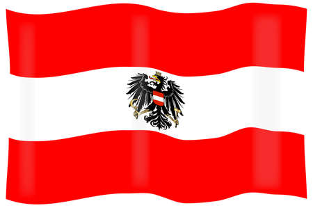 austrian flag: The Austrian flag with the coat of arms over layed