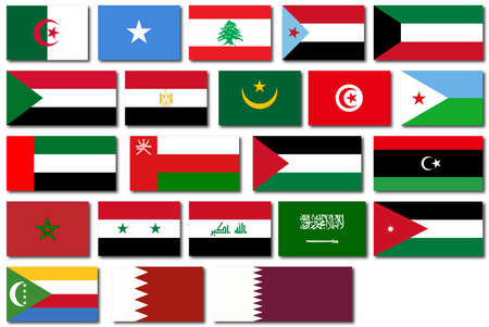 arab flags: Flags of countries in The Arab League over a white background