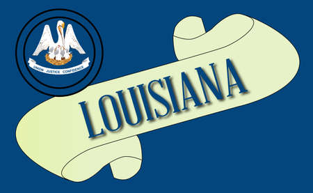 louisiana flag: A scroll with the text Louisiana with the flag of the state detail