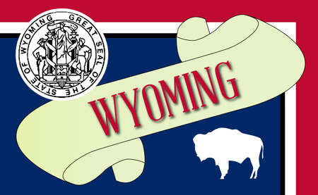 A scroll with the text Wyoming with the flag of the state detail