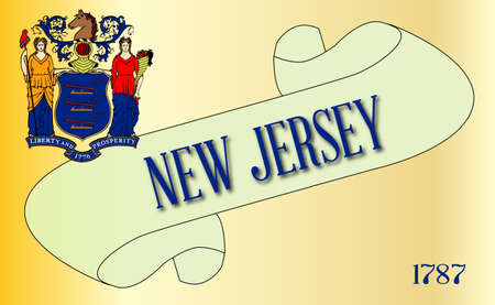 A scroll with the text New Jersey with the flag of the state detail Illustration