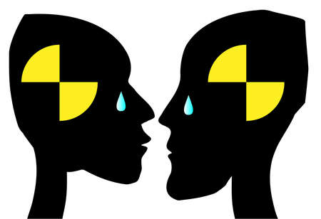 dummies: Man and woman crash dummies with tears over a white background