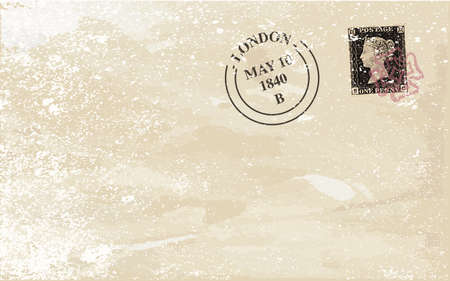 penny: A typical victorian penny black british stamp on a used envelope Illustration