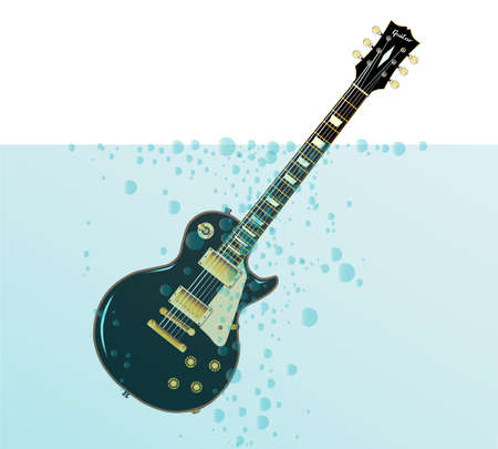 headstock: The definitive rock and roll guitar in black, sinking with bubbles