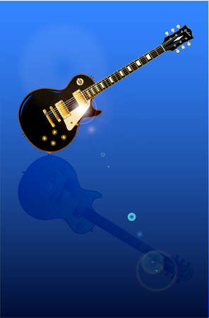 ebony: The definitive rock and roll guitar in black with reflection in polished surface Illustration