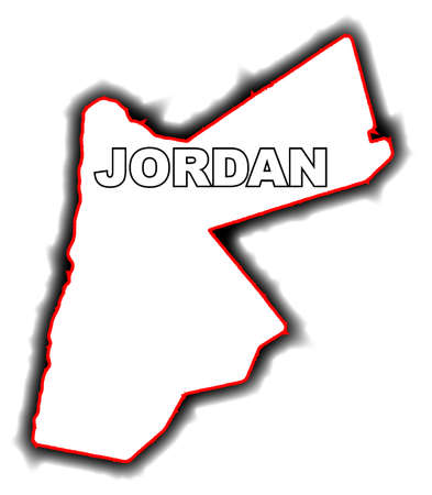 league: Outline map of the Arab League country of Jordan Illustration