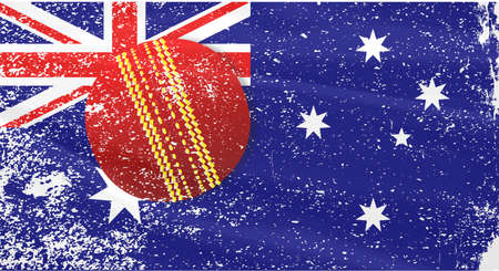 oz: The flag of Australia with grunge effect and cricket ball