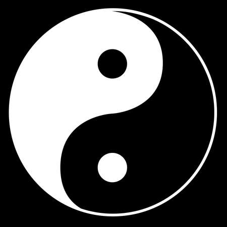 Yin yang in black and white over black Illustration