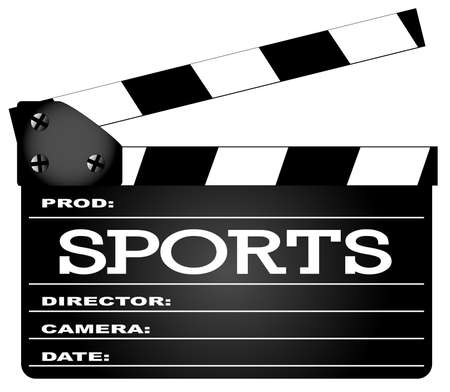 home video: A typical movie clapperboard with the legend Sports isolated on white.