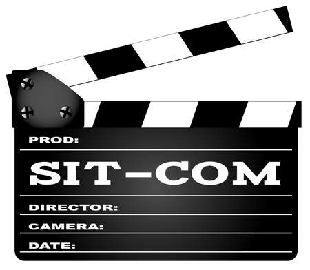 home video camera: A typical movie clapperboard with the legend Sit Com isolated on white.