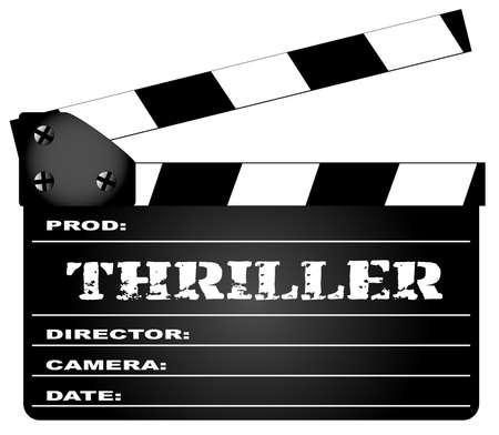 Ein typischer Film Filmklappe mit der Legende Thriller isoliert auf weiß.