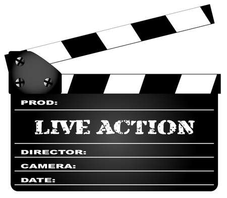 home video camera: A typical movie clapperboard with the legend Live Action isolated on white.