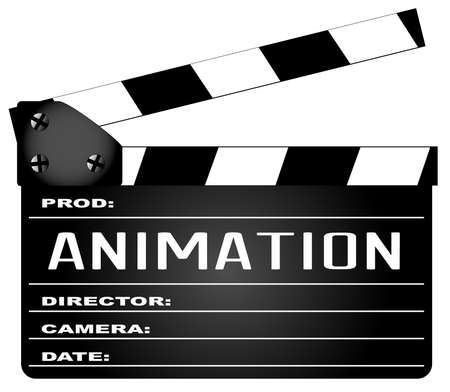 home video camera: A typical movie clapperboard with the legend Animation isolated on white. Illustration