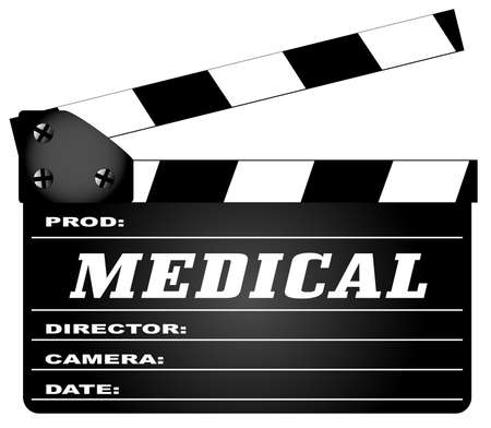 home video: A typical movie clapperboard with the legend Medical isolated on white.