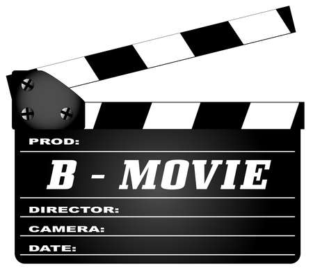 home video camera: A typical movie clapperboard with the legend B Movie isolated on white.