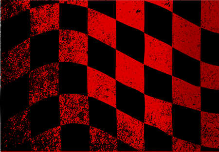 A dirty red and black grunge fx chequered race flag