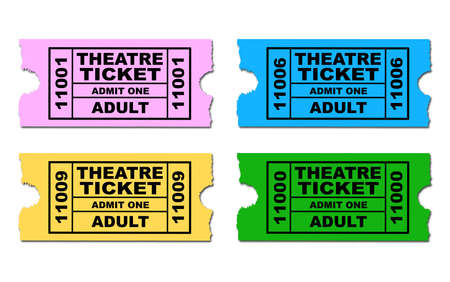 admit one: Four different theatre tickets to admit one adult all isolated on a white background