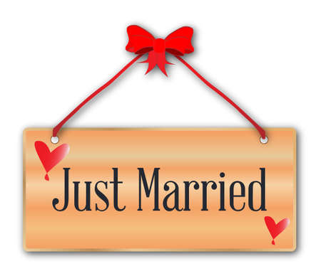 woodgrain: A just married plaque in woodgrain with red ribbon and bow over a white background with love cartoon hearts