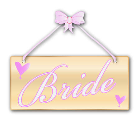 woodgrain: A bride plaque in woodgrain with pink ribbon and bow over a white background with love cartoon hearts Illustration