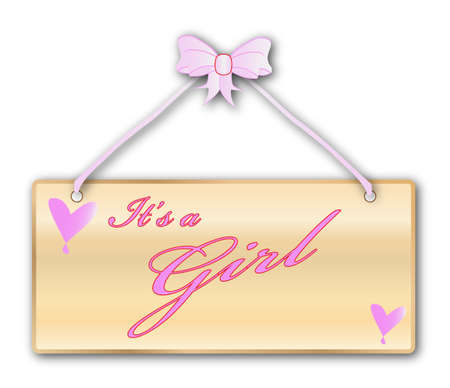 woodgrain: It is a girl plaque in woodgrain with pink ribbon and bow over a white background with love cartoon hearts Illustration