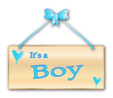 It is a boy plaque in woodgrain with blue ribbon and bow over a white background with love cartoon hearts Vector