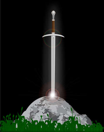 Excalibur King Arthurs sword in the stone with the heavenly light