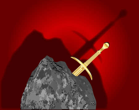 Excalibur embedded within a stone with dark shadows