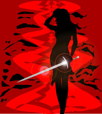 brandishing: Woman with excalibur King Arthurs broad swaord set over an abstract red background