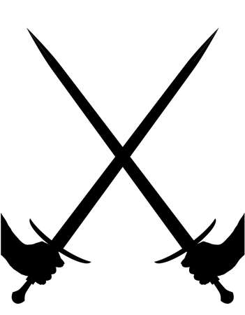 A pair of swords crossed in silhouette over a white background Illustration