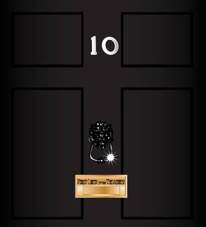 numero diez: La puerta principal del número diez de la calle derribando la casa del primer ministro británico, Vectores