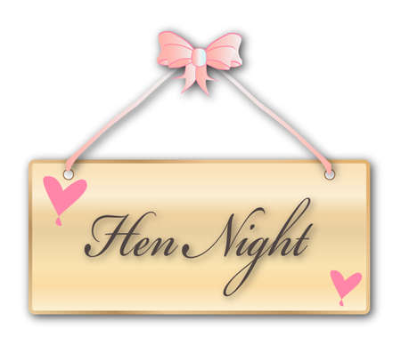women only: Hen Night,women, only, sign in woodgrain with light pink ribbon and bow over a white background with love cartoon hearts