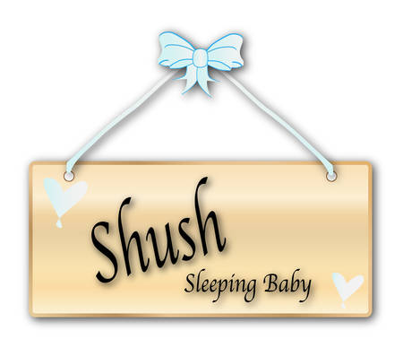 woodgrain: Shush baby sign in woodgrain with light blue ribbon and bow over a white background with love cartoon hearts Illustration
