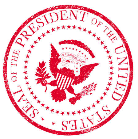 A depiction of the seal of the president of the United States of America as a red ink rubber stamp