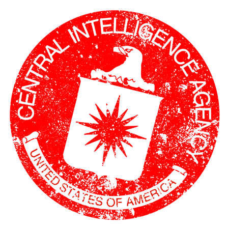 spying: Logo of The Central Intelligence Agency of the United States of America rubber stamp in red ink over white