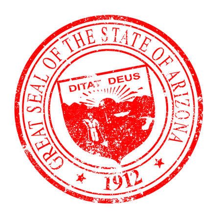 phoenix arizona: The state seal of Arizona on a white background as a rubber red ink stamp
