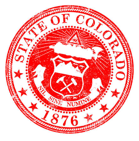 The seal of the United States state of Colorado rubber stamp over white Vector