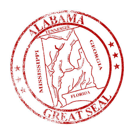 great seal: The great seal of Alabama rubber stamp isolated on a white background Illustration