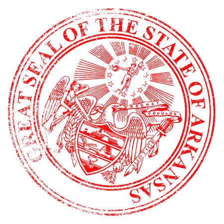 the state seal of arkansas as a rubber stamp over a white background