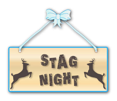 woodgrain: Stag Night,men, only, sign in woodgrain with blue ribbon and bow over a white background with jumping stag cartoons