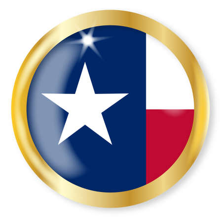 texas state flag: Texas state flag button with a gold metal circular border over a white background Illustration