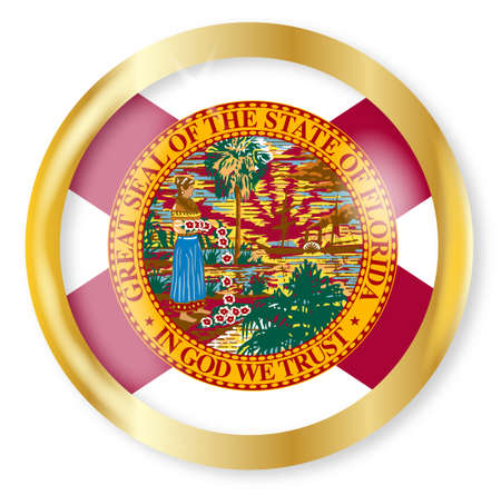 florida state: Florida state flag button with a gold metal circular border over a white background