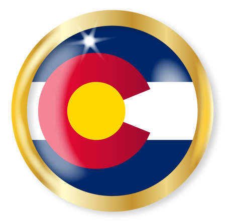 colorado flag: Colorado state flag button with a gold metal circular border over a white background