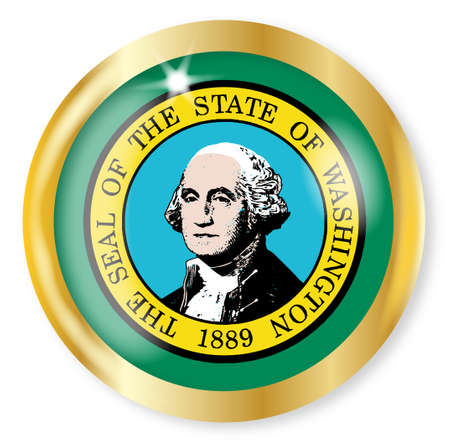 Washington state flag button with a gold metal circular border over a white background