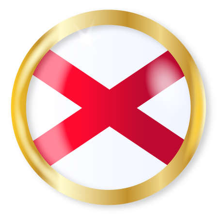 alabama state: Alabama state flag button with a gold metal circular border over a white background Illustration