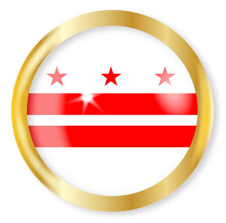 dc: Washington DC state flag button with a gold metal circular border over a white background