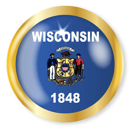 wisconsin state: Wisconsin state flag button with a gold metal circular border over a white background